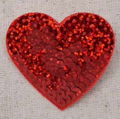 """Large Red 2"""" Sequin Heart - Valentine - Iron on Applique/Embroidered Patch"""