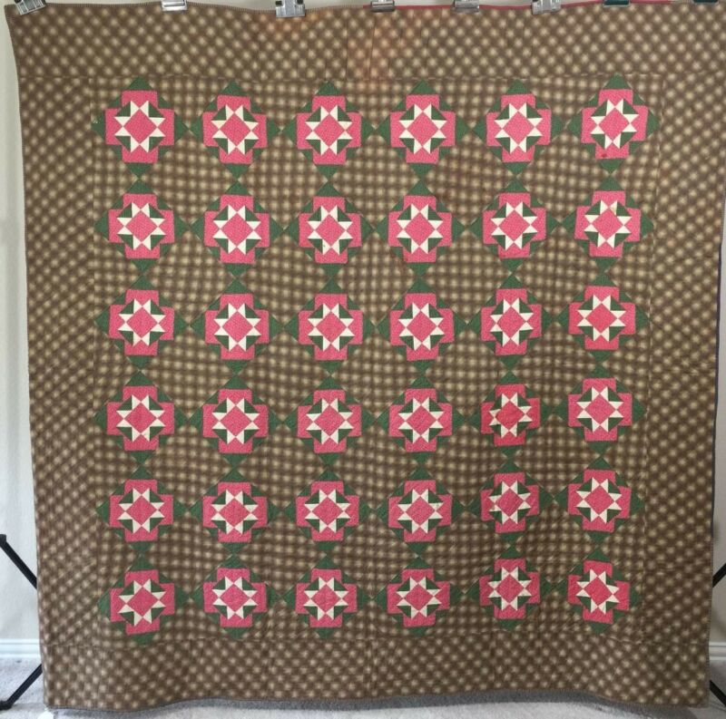 Early Antique Quilt! 1870-1880. Star Var. Very graphic