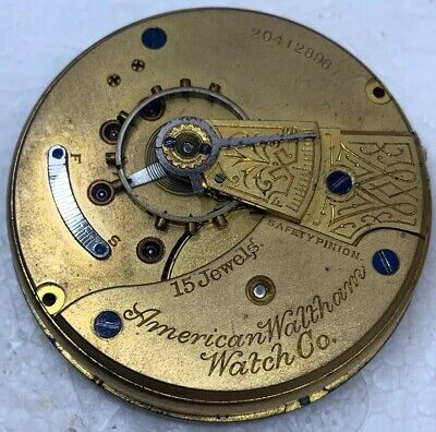 Waltham Pocket Watch Movement Sterling 1883 Model 18s openface 15j Parts F3562