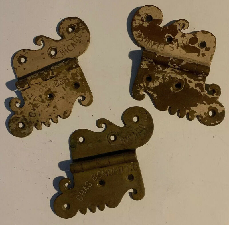 Vintage Unique 3 Brass Hinges