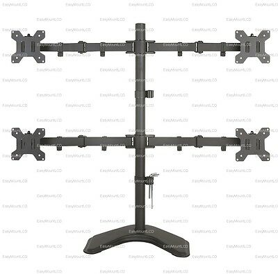 Quad Lcd Monitor Stand - EZM Basic Quad 4 LCD LED Monitor Mount Stand Free Standing up to 27