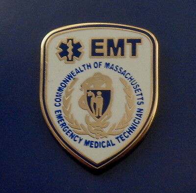Commonwealth of MA Massachusetts EMT Emergency Medical Technician lapel pin BLUE