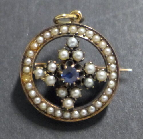 Antique Victorian Gold Plated Seed Pearl Blue Topaz Round Pendant Brooch Vintage