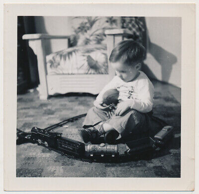 LITTLE FOOTBALL BOY w TOY MARX TIN TRAIN SET vtg 40's XMAS GIFTS SNAPSHOT photo