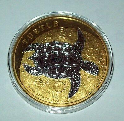 2017 Niue Taku Turtle 24K Gold Gild Silver 1 Troy Oz Two Tone Coin  999 Fine