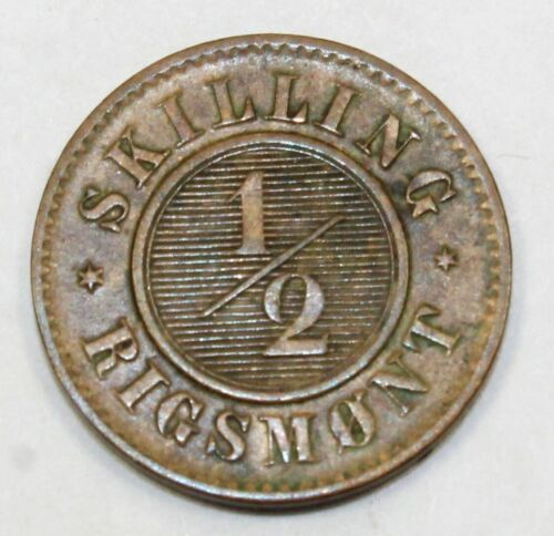 1857 Denmark / Danish 1/2 Skilling Rigsmont - AU About Uncirculated Condition