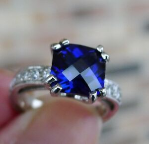 14K White Gold Genuine 2.0ct Chatham Blue Sapphire and Diamond Ring