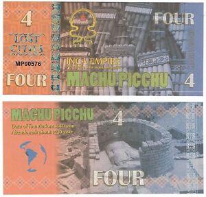 Peru - Machu Picchu Inca Empire 4 Lost Cities 2016 UNC Fantasy Banknote - <span itemprop=availableAtOrFrom>Otwock, Polska</span> - Peru - Machu Picchu Inca Empire 4 Lost Cities 2016 UNC Fantasy Banknote - Otwock, Polska