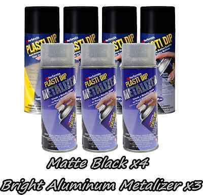 Performix Plasti Dip Wheel Kit 4 Matte Black Bright Aluminum Metalizer 3 Cans