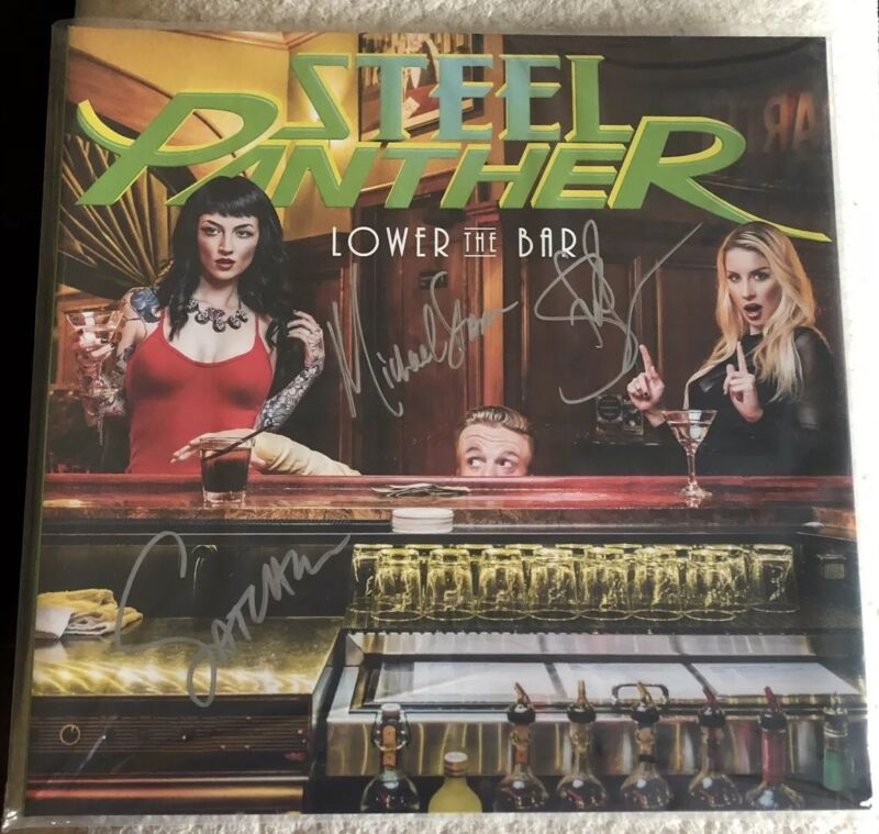 STEEL PANTHER AUTOGRAPHED Lower The Bar [Unplayed Vinyl] Gatefold LP SIGNED