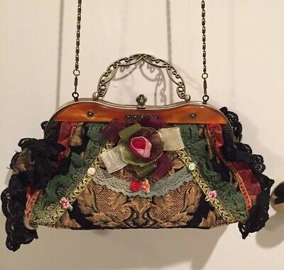 New Vintage Style Tapestry Purse Floral Lace Cross Body Chain Chain Floral Cross
