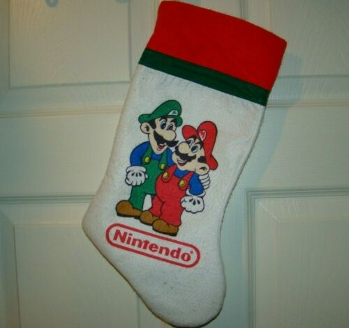 "Vintage Nintendo Mario & Luigi Bros 15"" Felt Christmas Stocking RARE HTF"