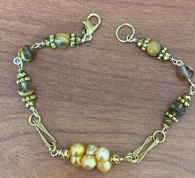 """Handmade Bracelet Gold Plated Tigers Eye Freshwater Pearl And  Crystal 8"""" Long"""