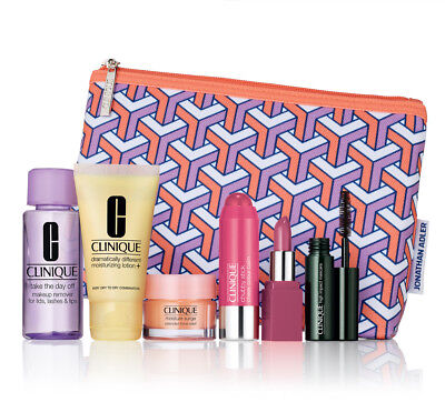 NEW! Clinique 7-pc FALL 2017 Bonus Gift JONATHAN ADLER bag Set, Sealed