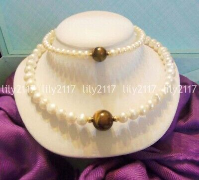 Natural White Baroque Freshwater Cultured Pearl & Tigers Eye Necklace Bracelet