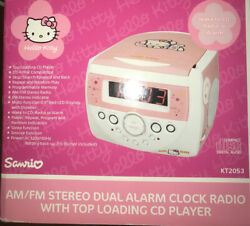 Hello Kitty Radio Pink CD Player Dual Alarm Clock Model KT2053 Sanrio TESTED