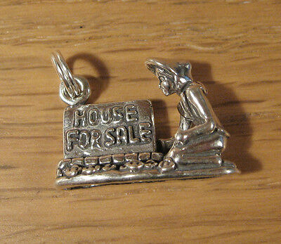 House For Sale Sign Charm Pendant  925 Sterling Silver Real Estate Gift Jewelry