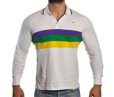 Mardi Gras White Three Striped Long Sleeve Polo Shirt - Striped Mardi Gras Shirts