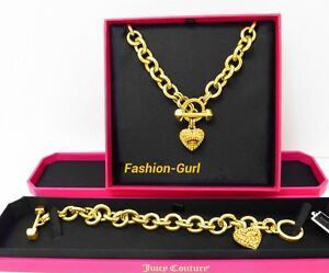 AUTHENTIC JUICY COUTURE PAVE ICON HEART CHARM AND STARTER NECKLACE BRACELET SET