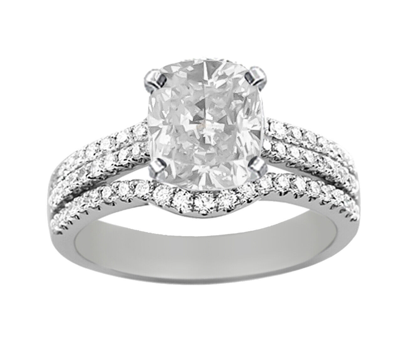 GIA Certified Diamond Engagement Ring 2.94 CTW Natural Cushion 18k White Gold