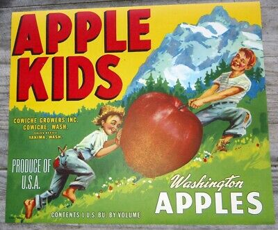 APPLE KIDS LITHO APPLE CRATE LABEL1940S ORIGINAL YAKIMA, WASHINGTON COMICAL BOYS](Kids Crate)