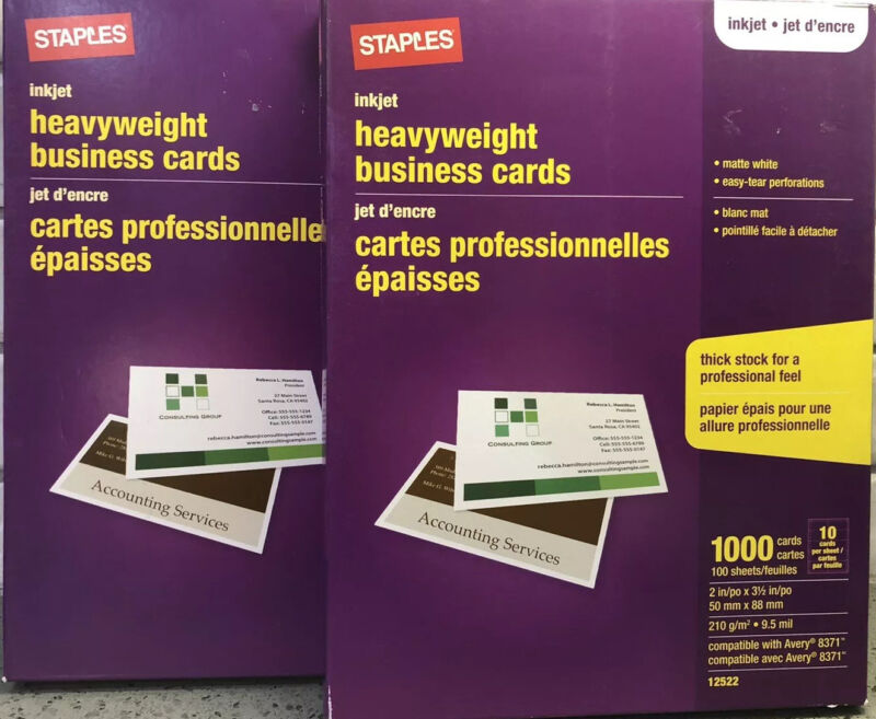 2-Staples Inkjet Heavy Weight Matte White Business Cards, 1000 Ct  ~ Free Ship