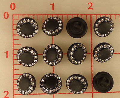 "12 vintage small matte black glass shank rhinestone buttons Czech 0.5"" 14mm 458"
