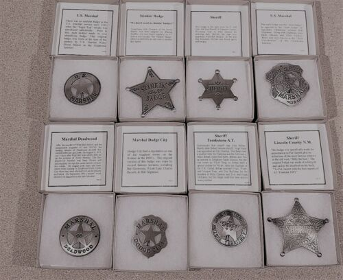 Famous Badges of the Old West Marshal Sheriff Replica Badge lot of 8 NEW in box