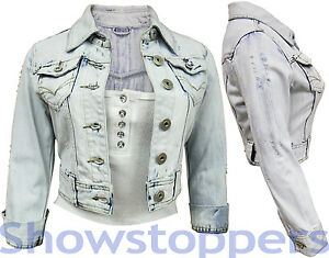 NEW-DENIM-JACKET-LADIES-Jean-Jackets-Womens-Waistcoat-Cropped-Size-8-10-12-14-16