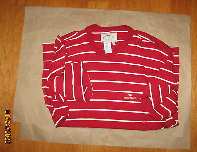 ARMANI JEANS MEN'S RED & WHITE STRIPED COTTON SHORT SLEEVE SHIRT SIZE XS NWOT