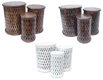 wunderschön braun weiß rund handgeschnitzt indisch Holz Seite Kaffeetisch Stuhl ()