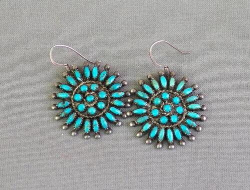 Vintage Silver Turquoise Cluster Screw Back to Drop Dangle Pierced Earrings