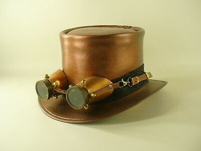 COPPER COLOUR LEATHER STEAMPUNK HAT WITH COPPER AND BRASS AVIATOR GOGGLES](Aviator Goggles And Hat)