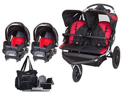 Baby Trend Twins Travel System مزدوجة Jogger عربة بمقعدين للسيارة حقيبة حفاضات