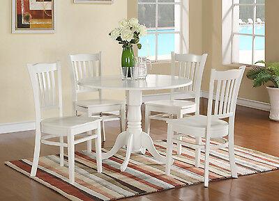 - 5pc Dublin dinette set round pedestal kitchen table w/ 4 wood chairs linen white