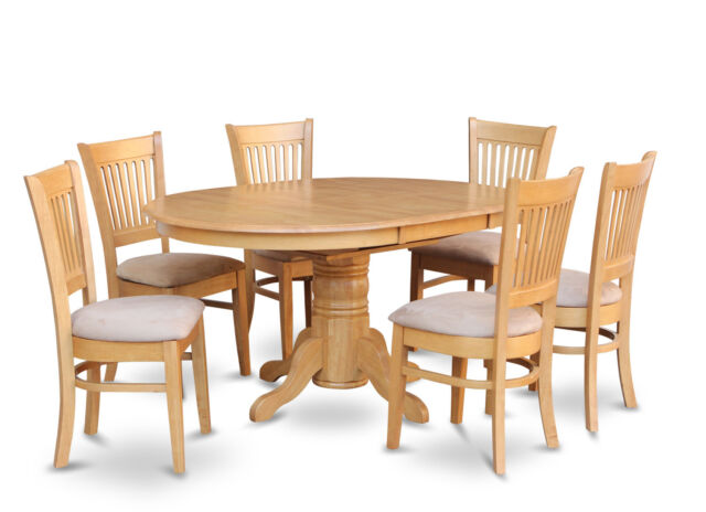 7PC OVAL DINETTE KITCHEN DINING ROOM SET TABLE W 6 UPHOLSTERED CHAIRS LIGHT OAK