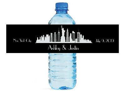 New York City Themed Water Bottle Labels, Weddings, Birthday, Engagement Party (New York Theme Party)