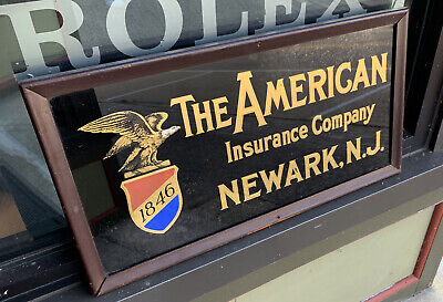 The American Insurance Company framed Vintage Reverse Glass Sign Newark NJ