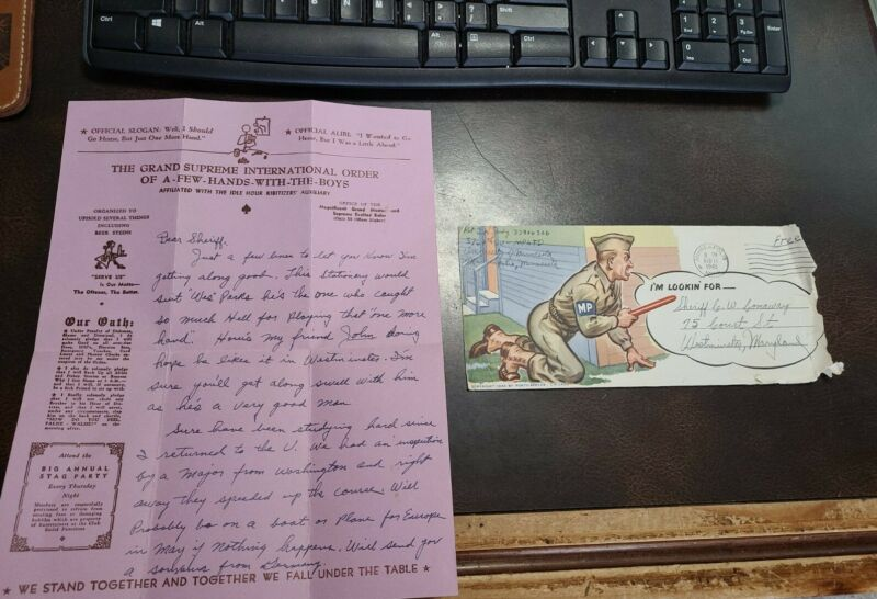 WW2 1942 G.i. Letter To Westminster Md Sheriff From Enlisted Deputy