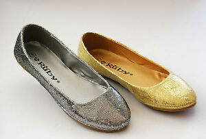 NEW-Ballet-Flats-Glitter-Sparkle-Low-Heel-Big-Size-Round-Gold-Black-Women-Shoes