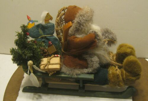 Delightful SANTA & Wooden Sleigh from the ALASKA CHRISTMAS STORE Excellent!!