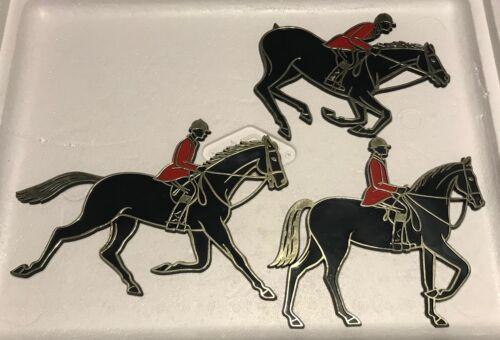 3 Vintage 1966 Invicta Plastics Ltd UK Showjumper Horse Rider Plaques equestrian
