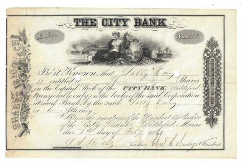 1861 The City Bank, Biddeford, ME Pre-Civil War Stock Certificate For 3 Shares