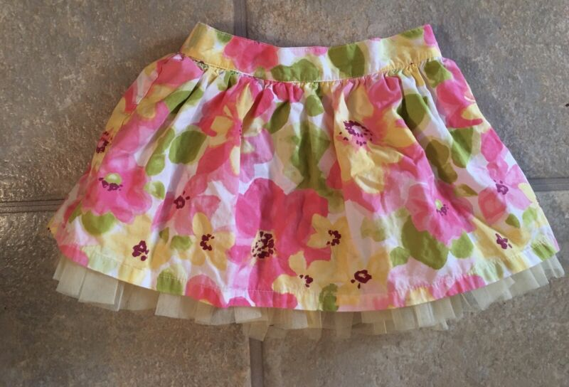 Gymboree Girl's Size 4T Pastel Floral Lined Skirt With Netted Trim