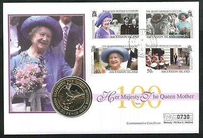 2000 - 100th Birthday Queen Mother Coin Cover - 50p Coin & Ascension Island Pmk