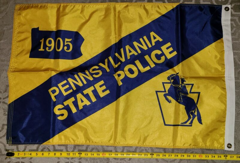 """LARGE 3""""x2"""" Nylon Pennsylvania State Police Flag Never DIsplayed DOUBLE SIDED!"""