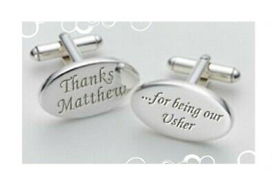 Personalised Gift for Usher Wedding Party Thank you Oval Cufflinks| #8 - Gifts For Wedding Ushers