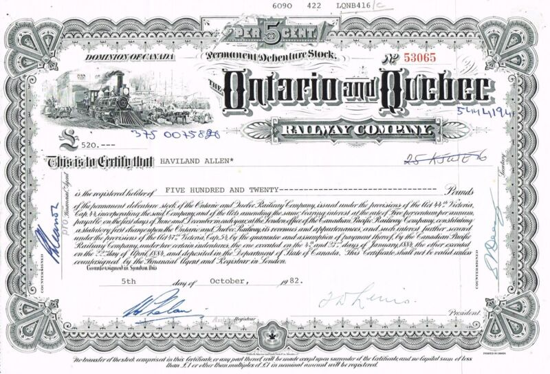 CANADA ONTARIO & QUEBEC RAILWAY COMPANY stock certificate RARE