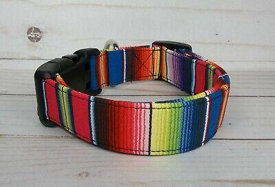 Blue Red Aqua Pink SERAPE STRIPE Terri's Dog Collar handmade adjustable fabric Red Striped Dog Collar