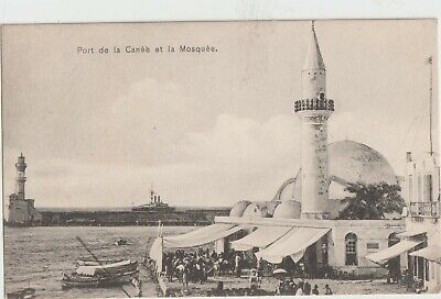 GREECE 1903 KRITI CRETE CHANIA PORT AND MOSQUE